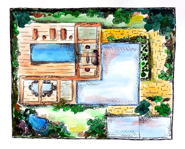 איור עיצוב פנים של בית ושטח מבט על