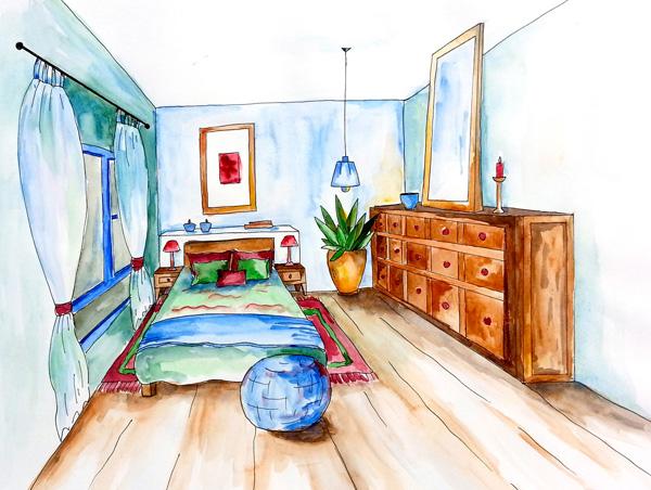 ציור עיצוב פנים של חדר